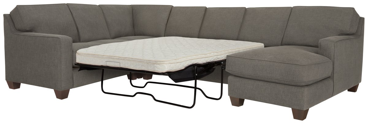 York Dark Gray Fabric Right Chaise Innerspring Sleeper Sectional
