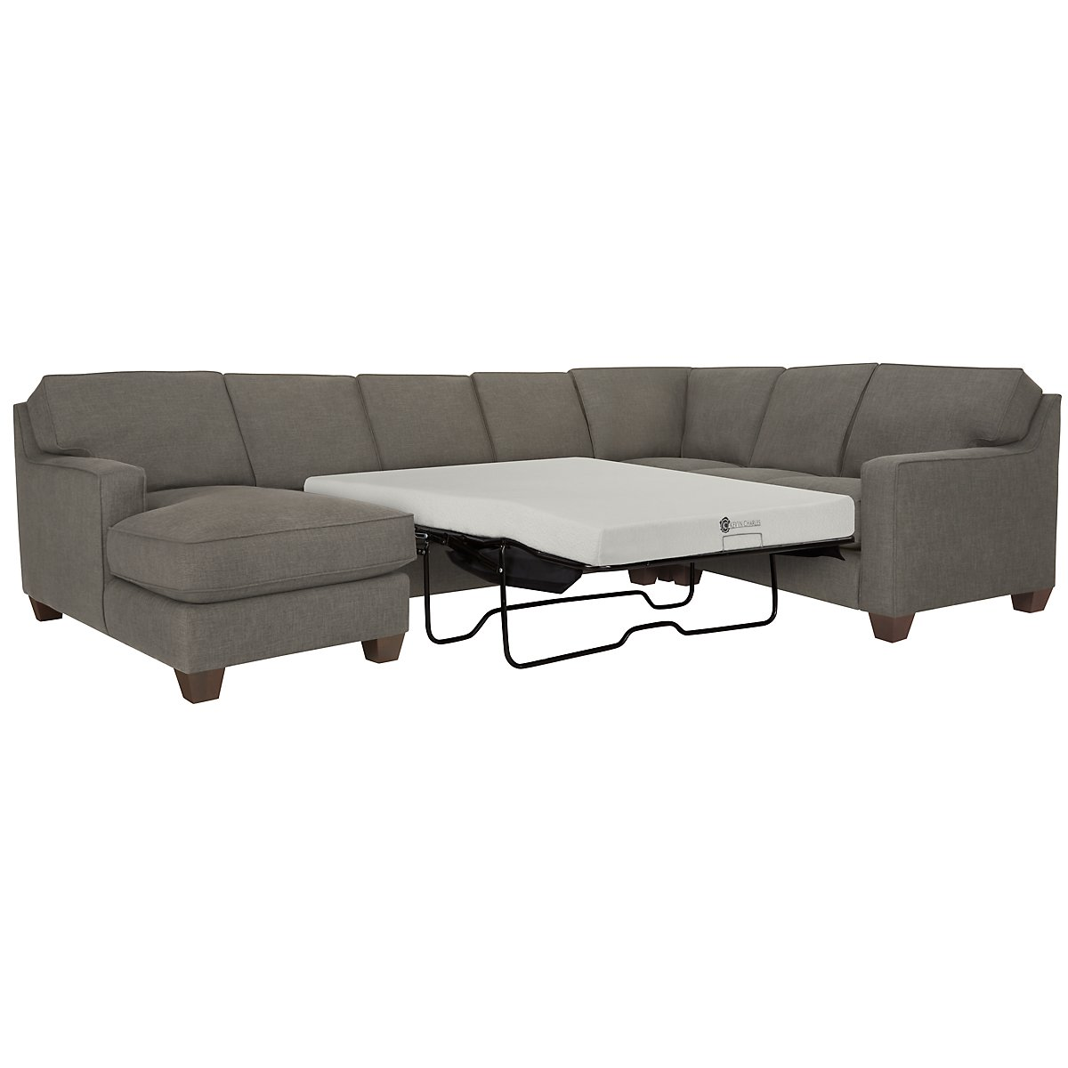 York Dark Gray Fabric Left Chaise Memory Foam Sleeper Sectional