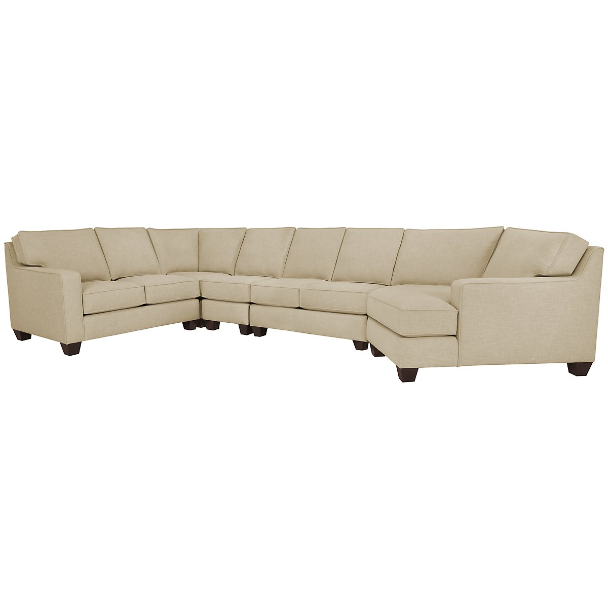York Beige Fabric Large Right Cuddler Sectional