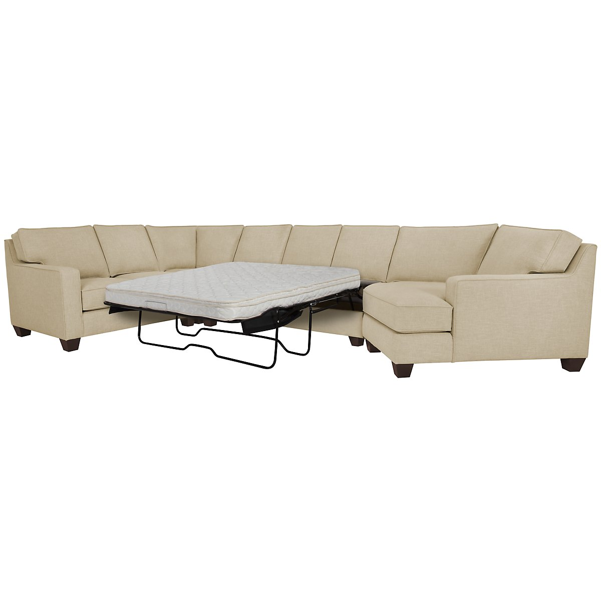 York Beige Fabric Small Right Cuddler Innerspring Sleeper Sectional