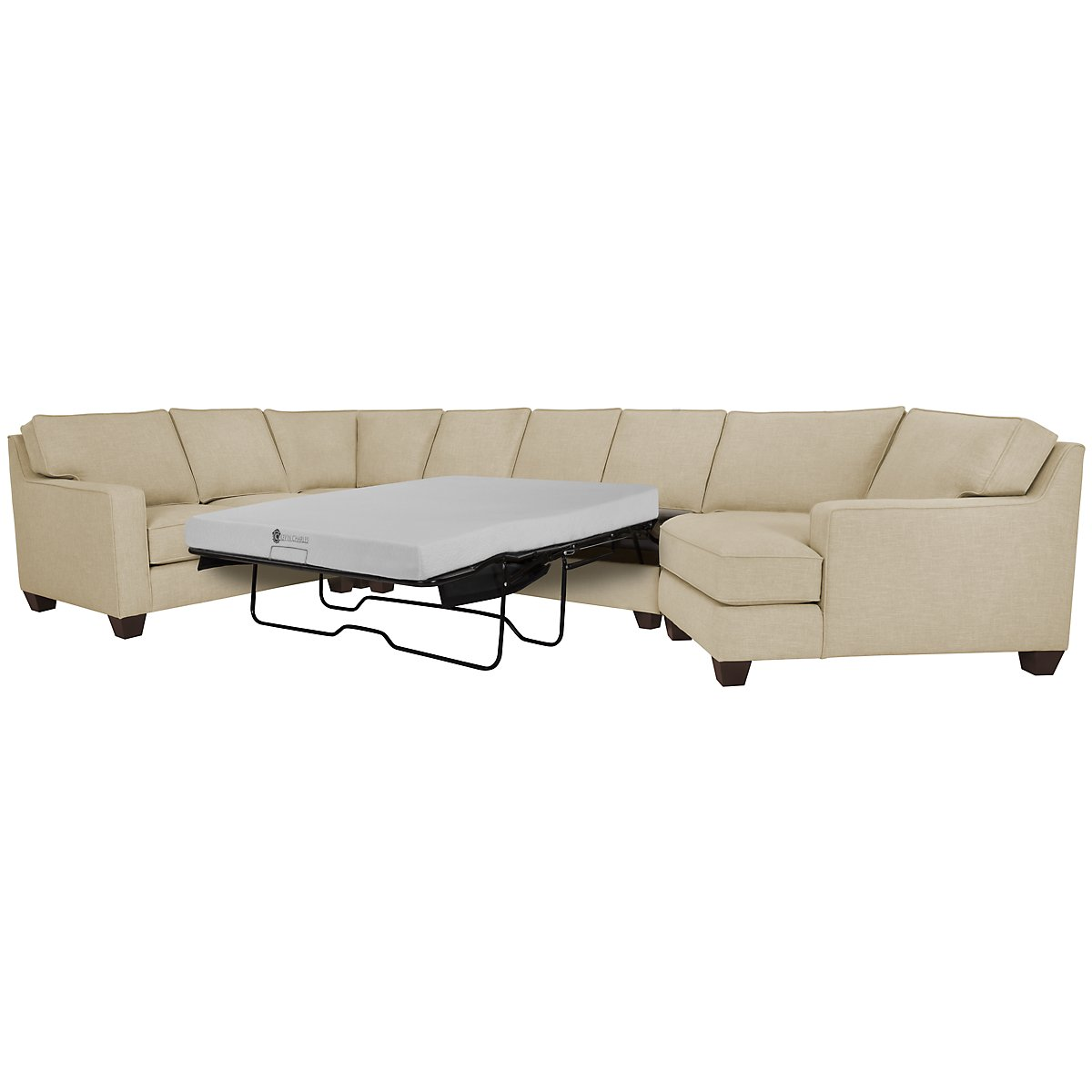 York Beige Fabric Small Right Cuddler Memory Foam Sleeper Sectional