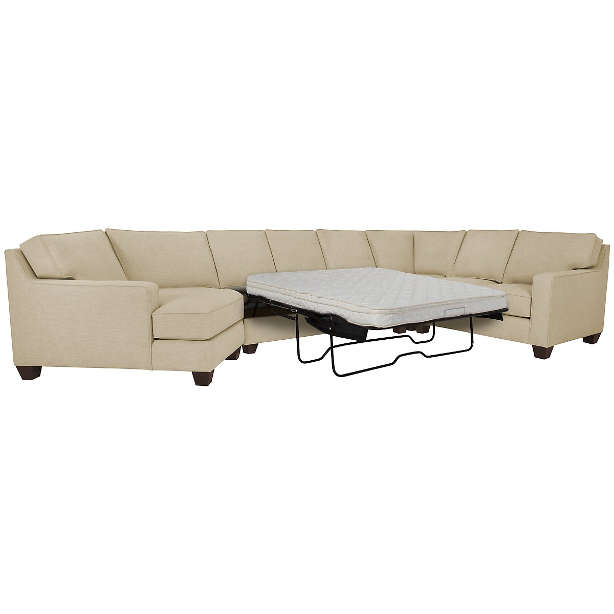 York Beige Fabric Small Left Cuddler Innerspring Sleeper Sectional
