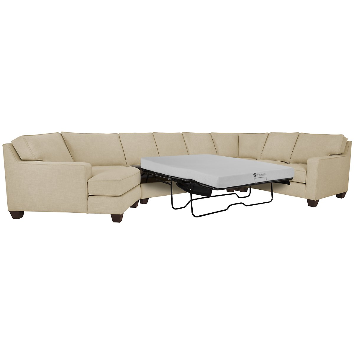 York Beige Fabric Small Left Cuddler Memory Foam Sleeper Sectional