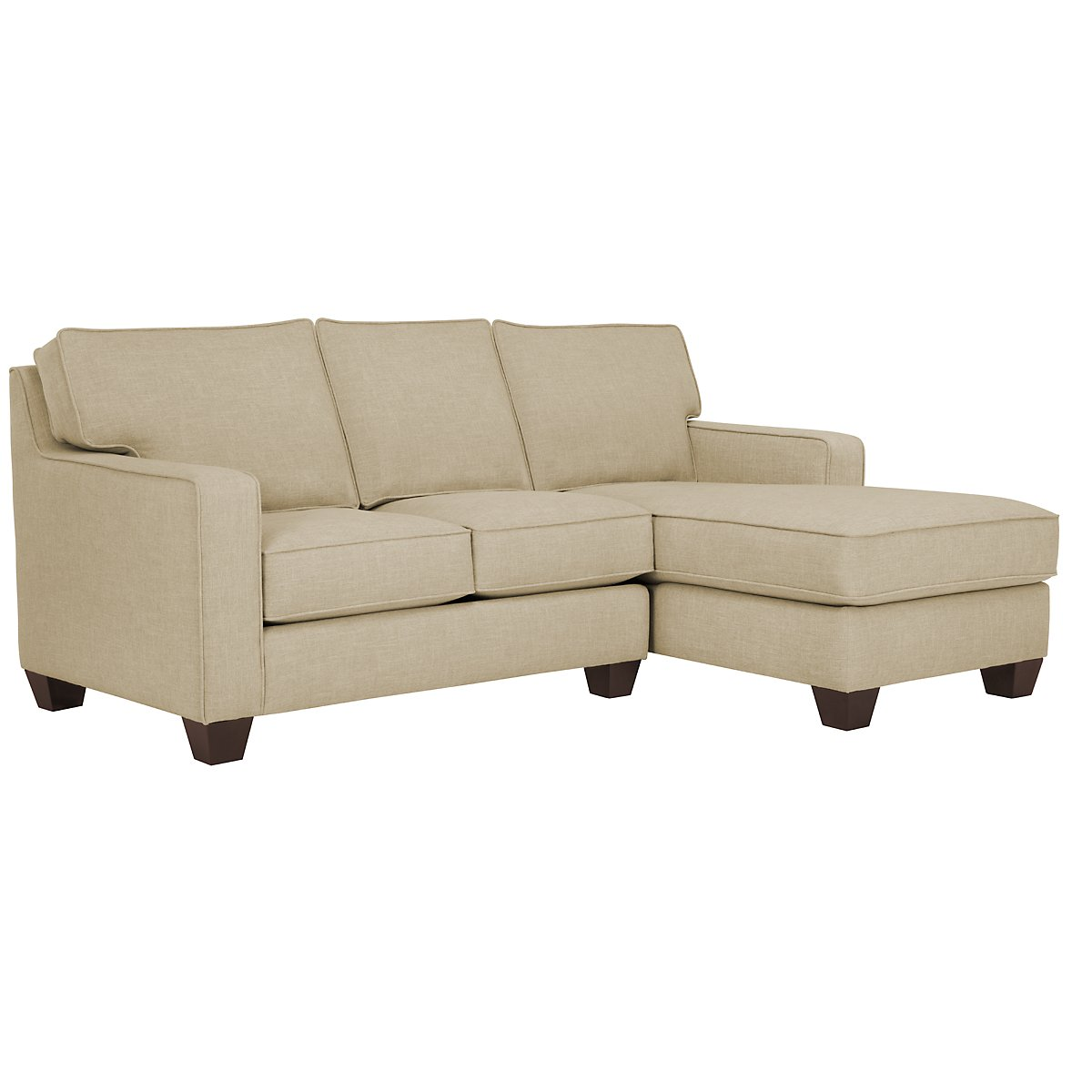 City furniture york beige fabric small right chaise sectional for Beige sectional with chaise