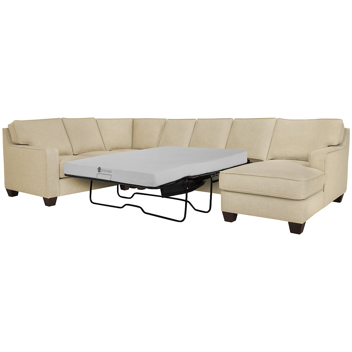 City furniture york beige fabric right chaise memory foam for Beige sectional with chaise