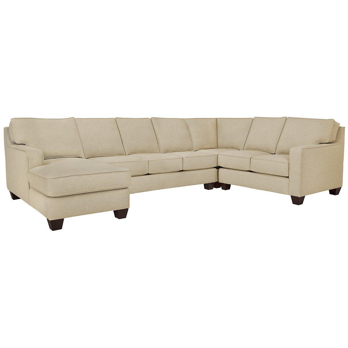 Madrid Taupe Beige Ultra Modern Living Room Furniture 3: York Beige Fabric Left Chaise Innerspring Sleeper Sectional