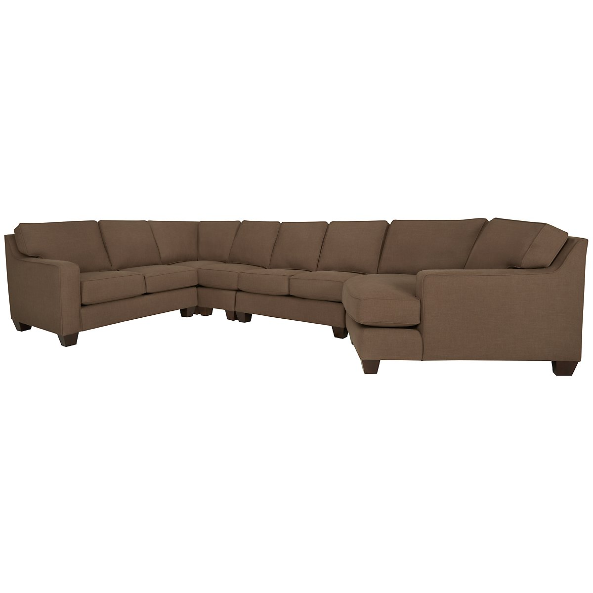 York Dark Brown Fabric Large Right Cuddler Sectional