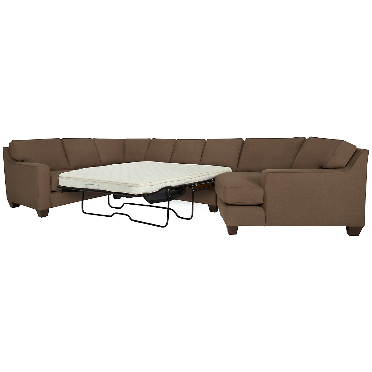 York Dark Brown Fabric Small Right Cuddler Innerspring Sleeper Sectional