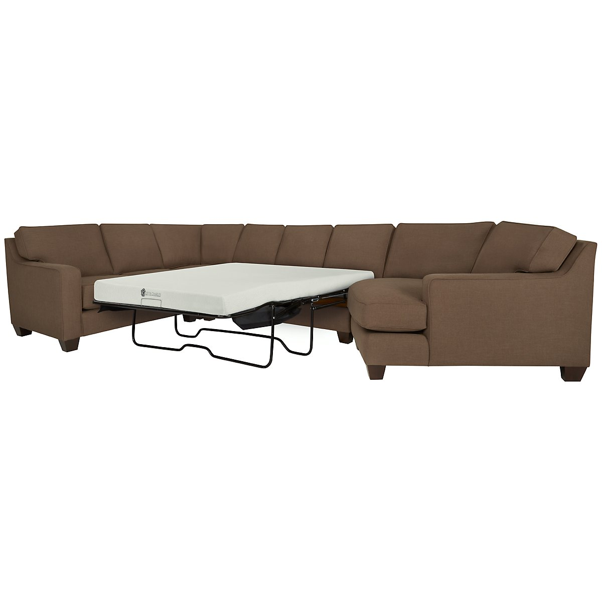 York Dark Brown Fabric Small Right Cuddler Memory Foam Sleeper Sectional