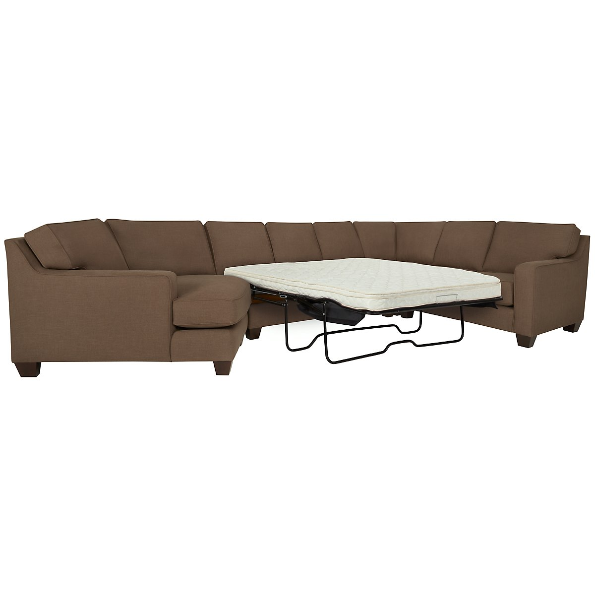 York Dark Brown Fabric Small Left Cuddler Innerspring Sleeper Sectional