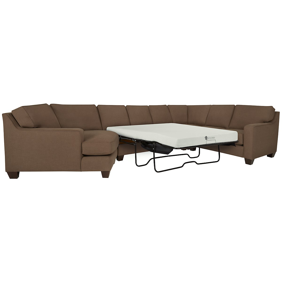 York Dark Brown Fabric Small Left Cuddler Memory Foam Sleeper Sectional