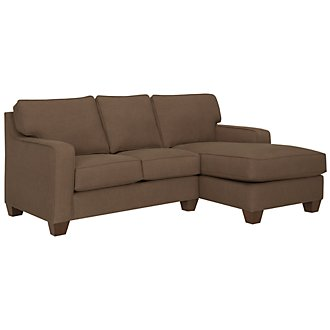 York Dark Brown Fabric Right Chaise Sectional