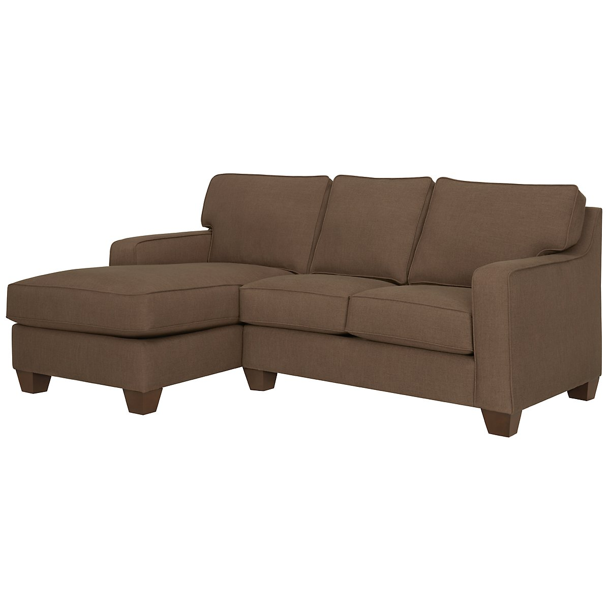 York Dark Brown Fabric Left Chaise Sectional