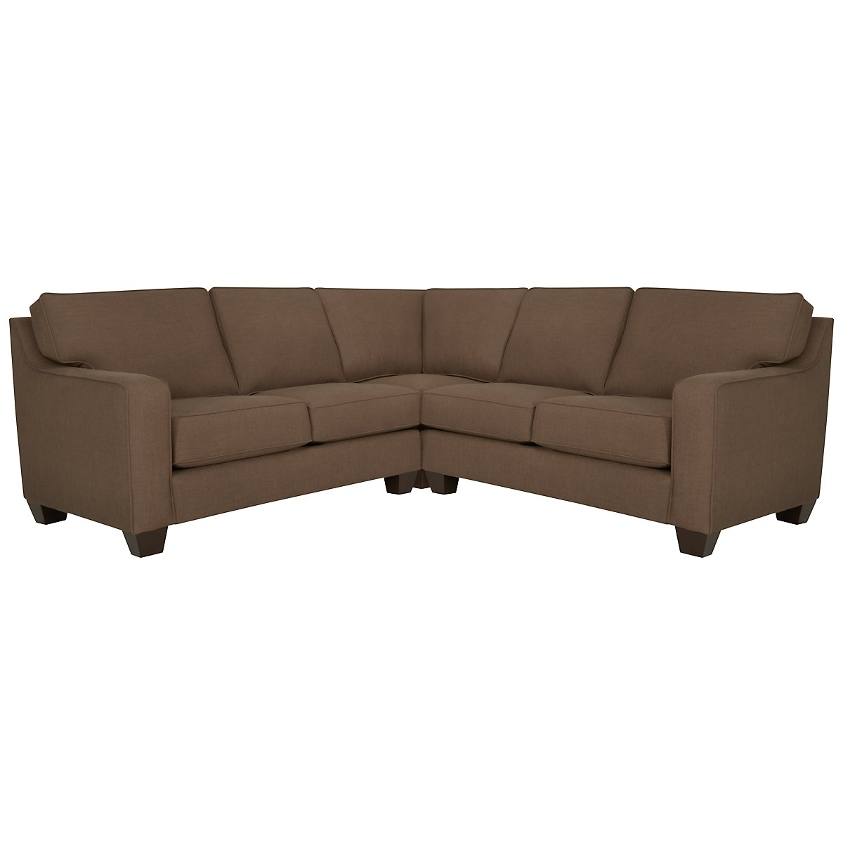 York Dark Brown Fabric Small Two-Arm Sectional