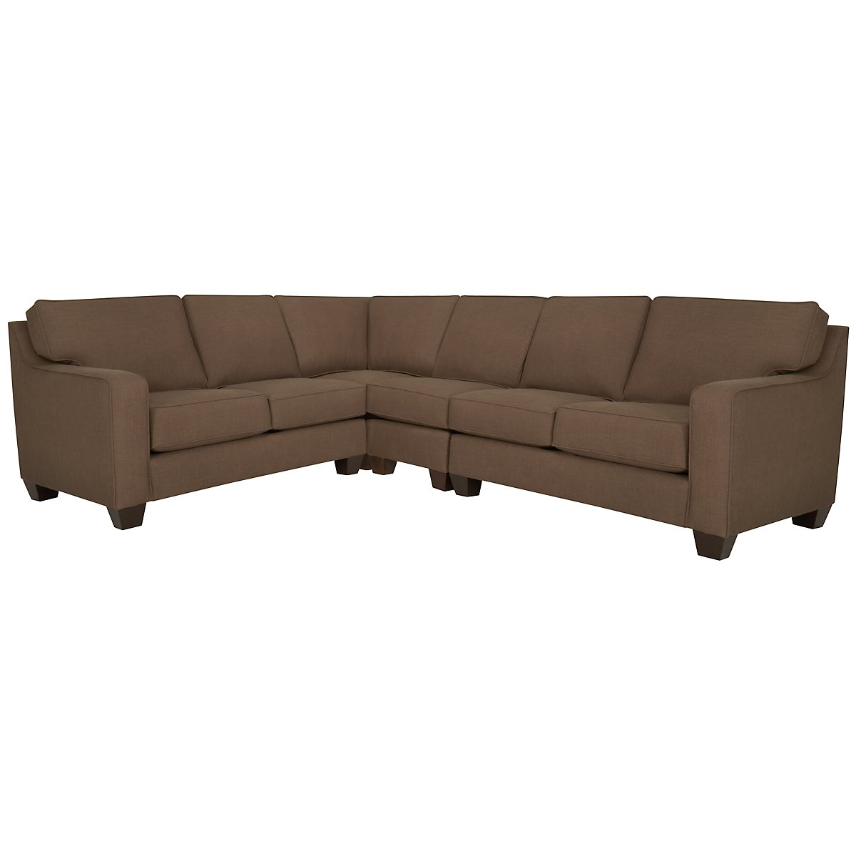 York Dark Brown Fabric Large Two-Arm Sectional