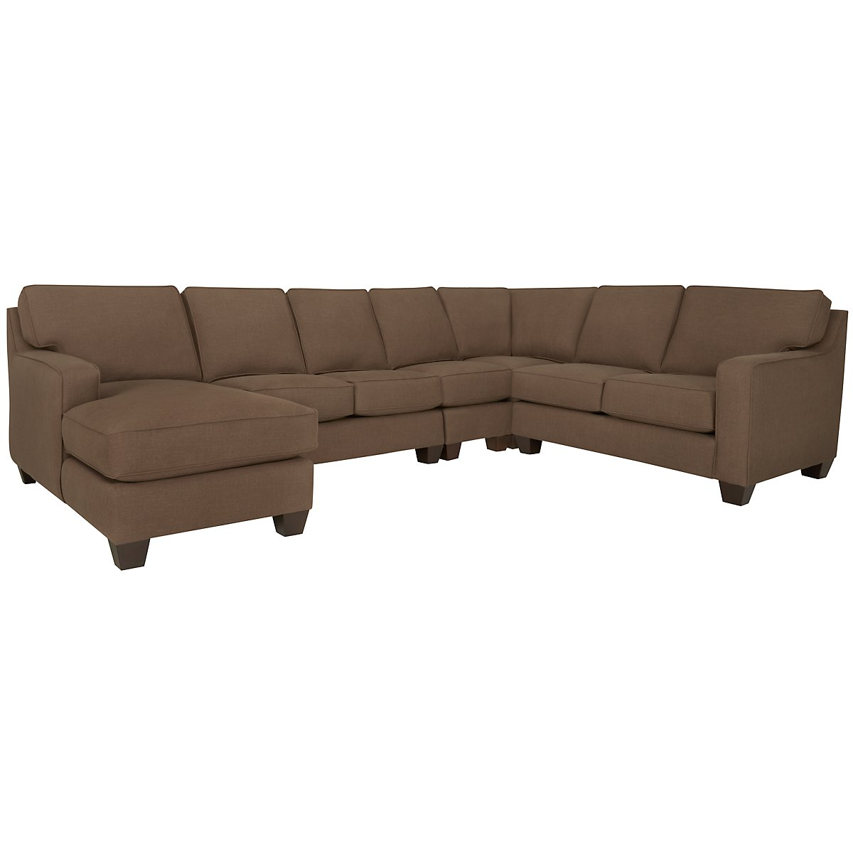 York Dark Brown Fabric Large Left Chaise Sectional