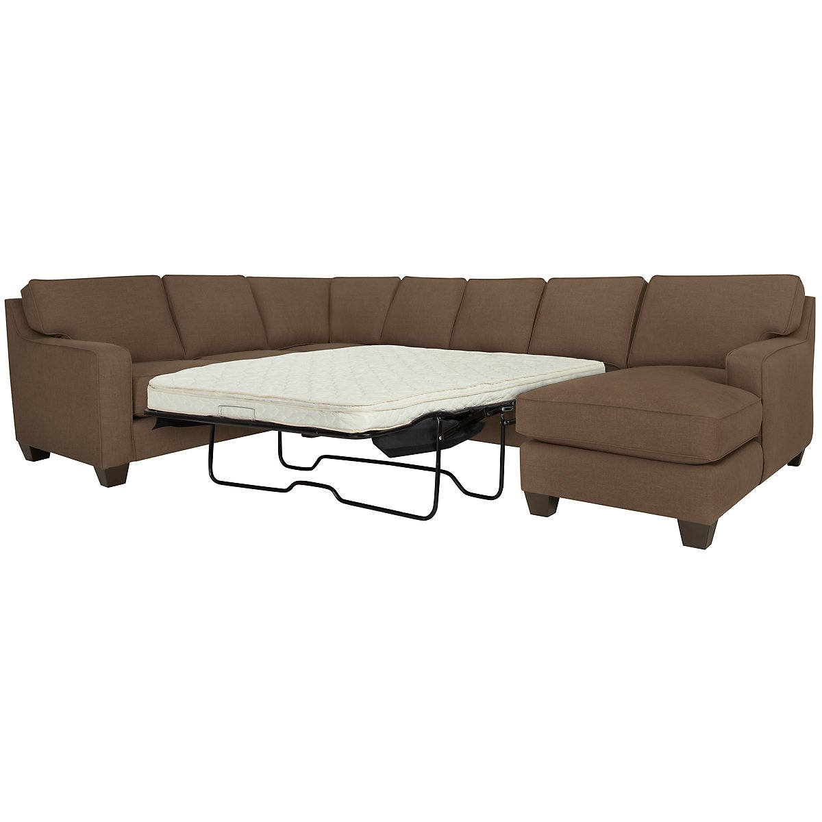York Dark Brown Fabric Right Chaise Innerspring Sleeper Sectional