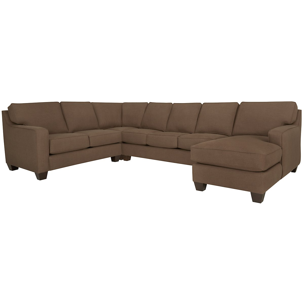 City furniture york dk brown fabric right chaise for Brown sectional with chaise