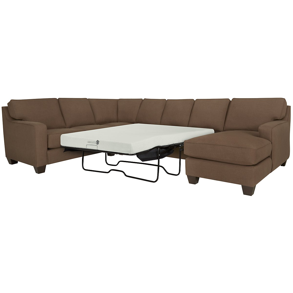 York Dark Brown Fabric Right Chaise Memory Foam Sleeper Sectional