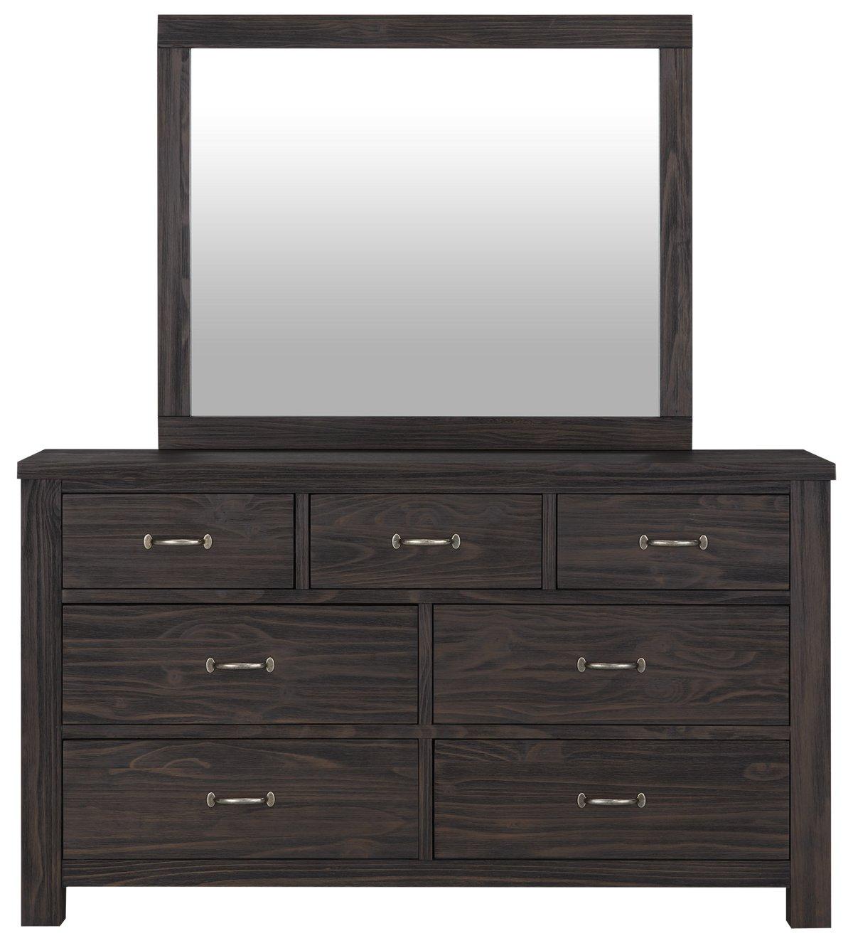 Highlands Dark Tone Wood Dresser & Mirror
