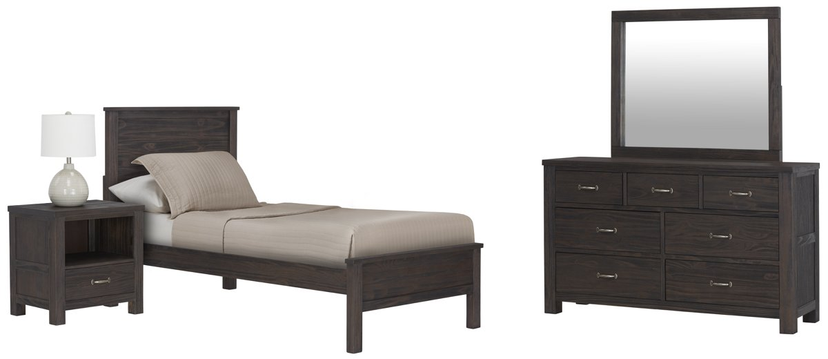 Highlands Dark Tone Wood Panel Bedroom