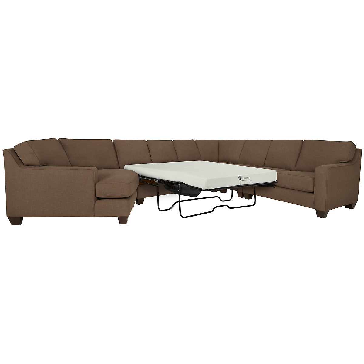 York Dark Brown Fabric Large Left Cuddler Memory Foam Sleeper Sectional