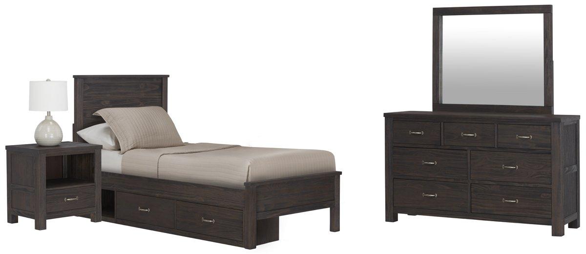 Highlands Dark Tone Wood Panel Storage Bedroom
