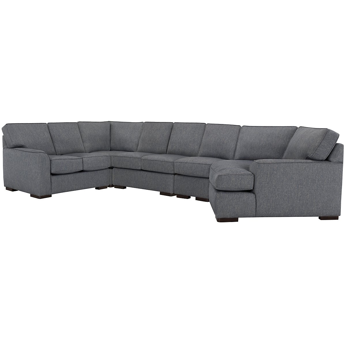 Austin Blue Fabric Large Right Cuddler Sectional