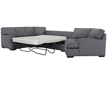 Austin Blue Fabric Right Cuddler Innerspring Sleeper Sectional