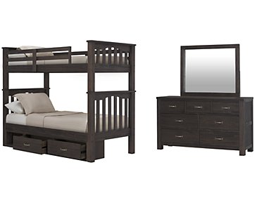 Highlands Dark Tone Bunk Bed Storage Bedroom