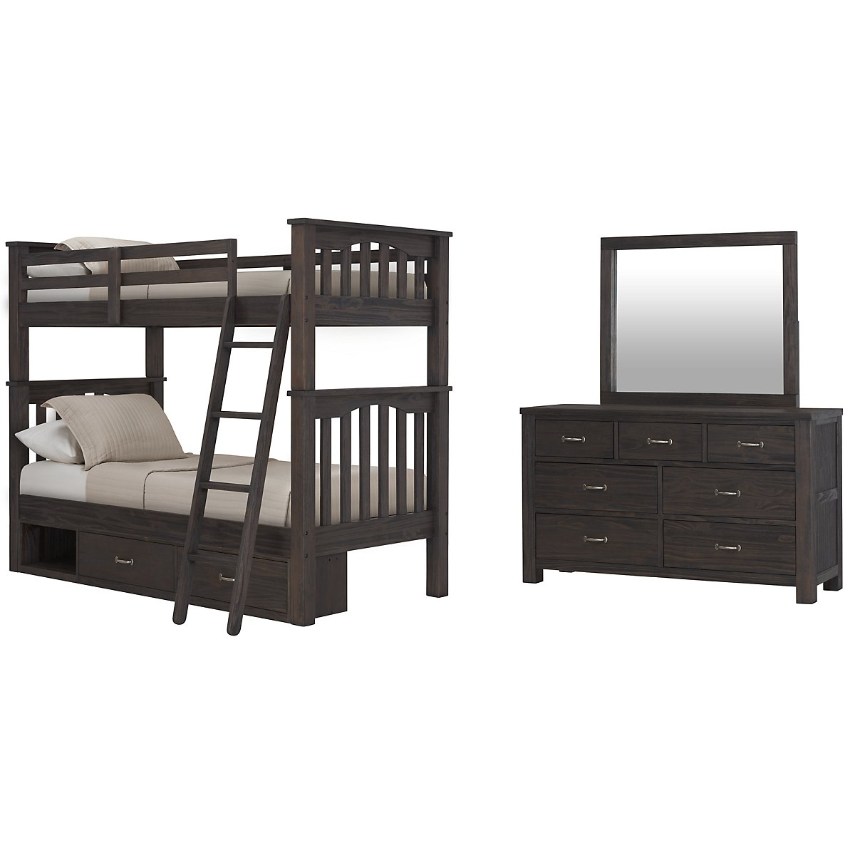 Highlands Dark Tone Wood Bunk Bed Storage Bedroom