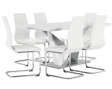 Lennox White Rectangular Table & 4 Upholstered Chairs
