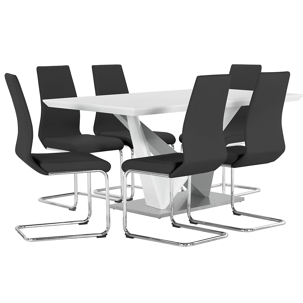 Lennox Black Wood Table & 4 Upholstered Chairs