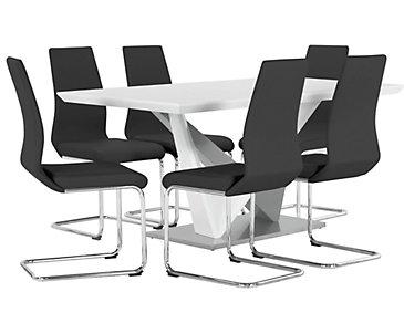 Lennox Black Rectangular Table & 4 Upholstered Chairs