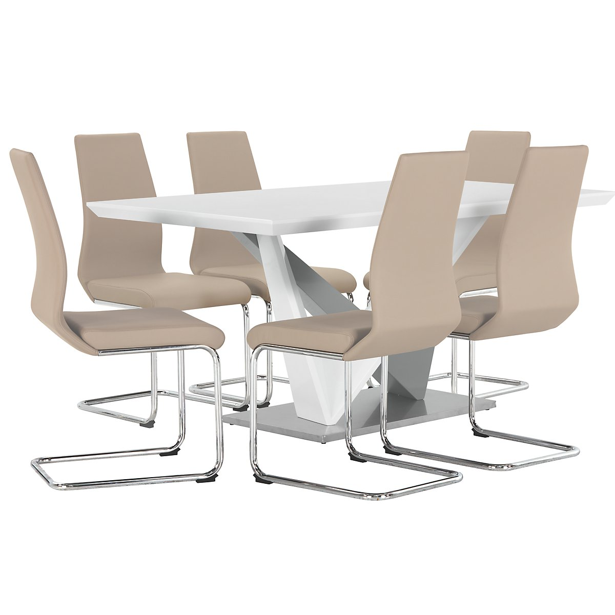 Lennox Taupe Wood Table & 4 Upholstered Chairs