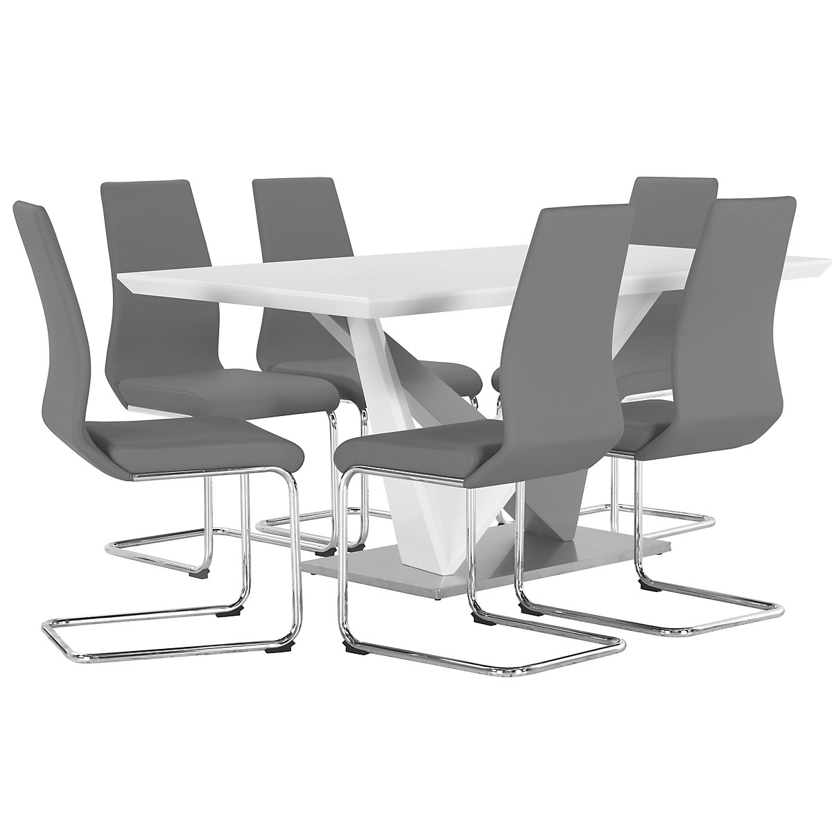 Lennox Gray Rectangular Table & 4 Upholstered Chairs