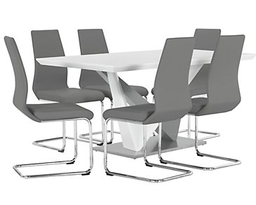 Lennox Gray Rectangular Table & 4 Upholstered Chairs