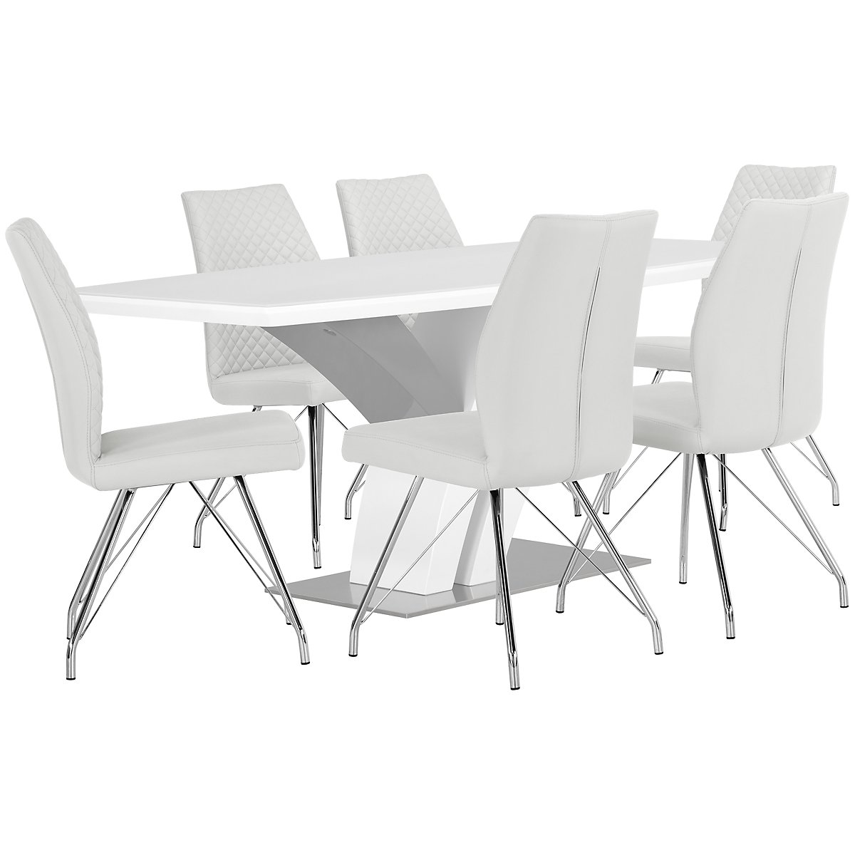 Lima White Wood Table & 4 Upholstered Chairs