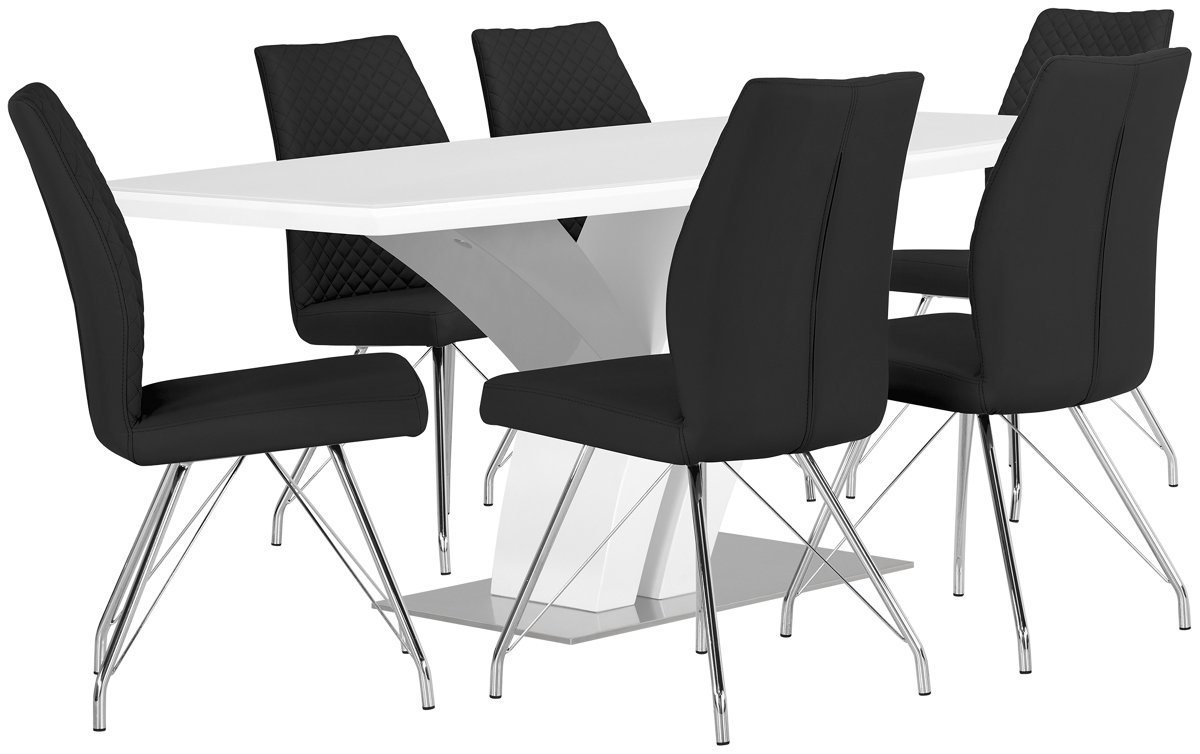 Lima Black Wood Table & 4 Upholstered Chairs