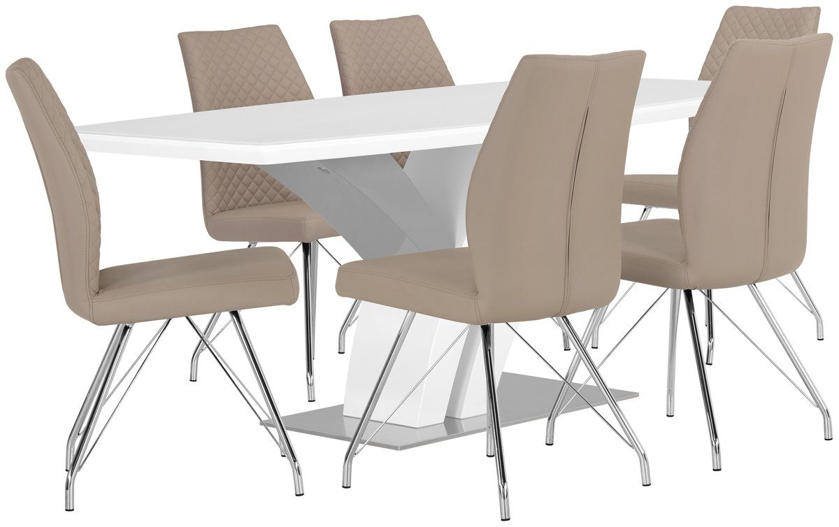 Lima Taupe Wood Table & 4 Upholstered Chairs