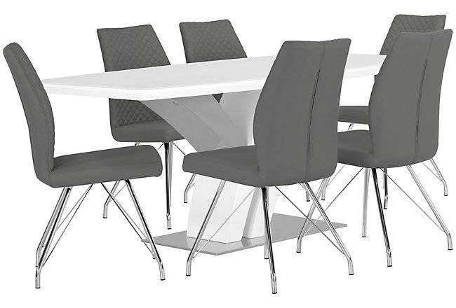 Lima Gray Wood Table & 4 Upholstered Chairs