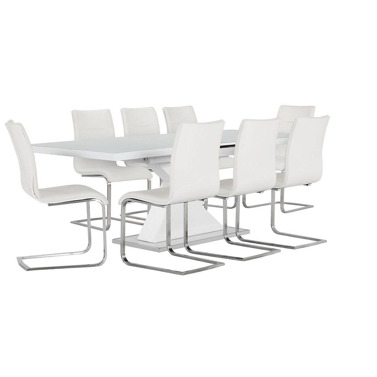 Drake White Rectangular Table & 4 Upholstered Chairs
