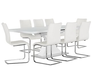 Drake White Rectangular Table & 4 Upholstered Chairs