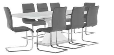 Superieur Drake Gray Rectangular Table U0026 4 Upholstered Chairs
