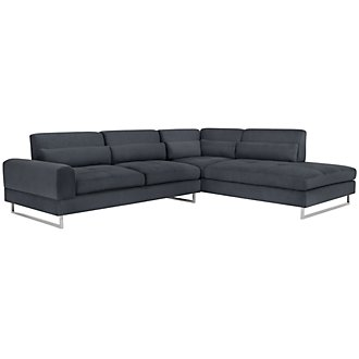 Baldwin Blue Microfiber Right Chaise Sectional