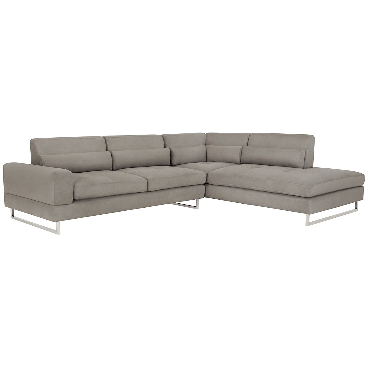 Gray chaise sofa grey sofa chaise thesofa for Gray microfiber sectional sofa with chaise