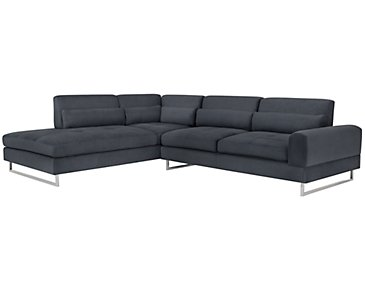 Baldwin Blue Microfiber Left Chaise Sectional