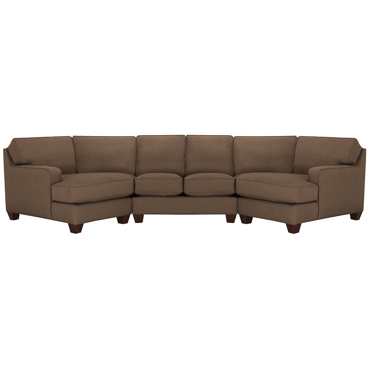 City furniture york dk brown fabric dual cuddler sectional for Brown fabric couch