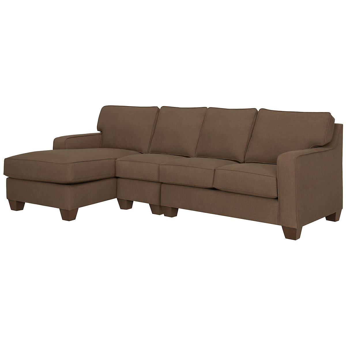 York Dark Brown Fabric Small Left Chaise Sectional