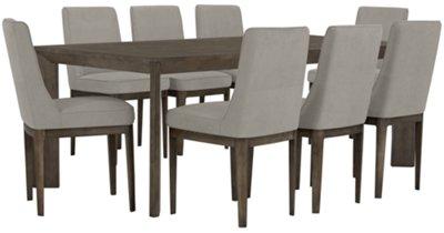 Rylan Gray Rectangular Table & 4 Upholstered Chairs
